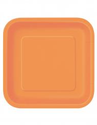 Confezione di 14 piatti di carta arancioni