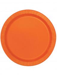 Confezione 10 piatti tondi in cartone arancioni