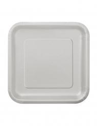 16 piattini cartone argento