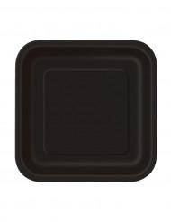 Confezione 16 piatti quadrati neri di carta