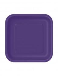 16 piatti quadrati di cartone viola