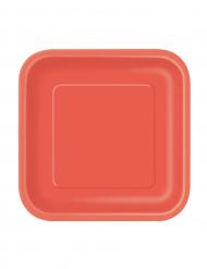 16 piattini rossi di cartone