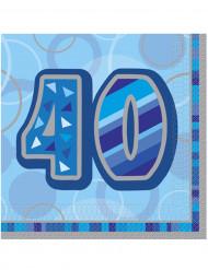 Confezione di 16 tovaglioli per i 40 anni di compleanno colore blu