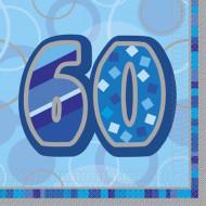 Confezione di 16 tovaglioli per i 60 anni di compleanno colore blu