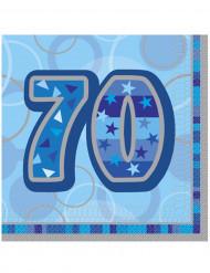 Confezione di 16 tovaglioli per i 70 anni di compleanno colore blu