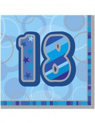 Confezione di 16 tovaglioli per i 18 anni di compleanno colore blu