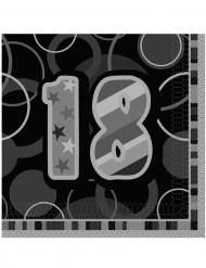 Confezione di 16 tovaglioli per i 18 anni di compleanno colore grigio