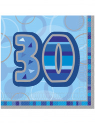 Confezione di 16 tovaglioli per i 30 anni di compleanno colore blu