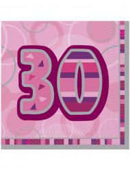 Confezione di 16 tovaglioli per i 30 anni di compleanno colore rosa