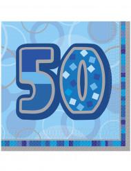 Confezione di 16 tovaglioli per i 50 anni di compleanno colore blu
