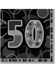 Confezione di 16 tovaglioli per i 50 anni di compleanno colore grigio