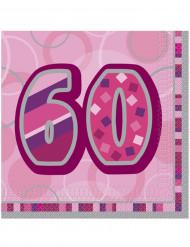 Confezione di 16 tovaglioli per i 60 anni di compleanno colore rosa