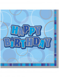 16 tovagloili di carta blu Happy Birthday