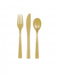 Confezione di posate in plastica dorate