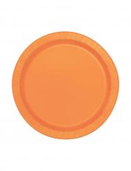 Confezione 20 piatti tondi in cartone arancioni