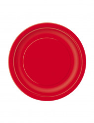 20 piattini rossi di cartone