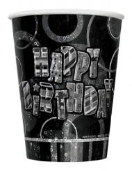 8 Bicchierini Happy Birthday grigio metallizzato