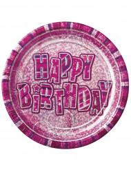8 piatti Happy Birthday Rosa e Viola