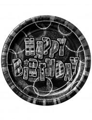 Confezione di 8 piatti Happy Birthday grigi metallizzati