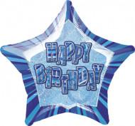 Palloncino blu a forma di stella Happy birthday