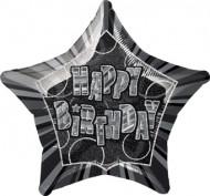 Palloncino grigio a forma di stella Happy Birthday