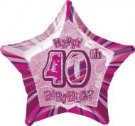Palloncino rosa a forma di stella 40 anni
