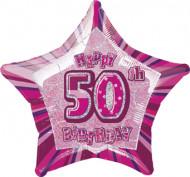 Palloncino rosa a forma di stella 50 anni