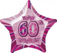Palloncino rosa a forma di stella 60 anni