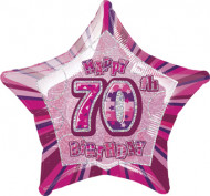 Palloncino rosa a forma di stella 70 anni