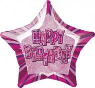 Palloncino rosa a forma di stella Happy Birthday