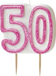 Candelina 50 anni rosa
