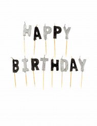 Candele Happy Birthday grigie nere