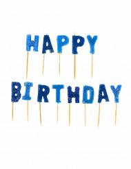 Candele Happy Birthday blu celeste