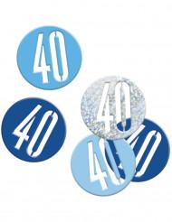 Coriandoli blu e grigi festa dei 40 anni