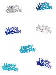 Coriandoli per tavola blu e grigi Happy Birthday