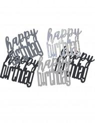 Coriandoli per tavola neri e grigi Happy Birthday