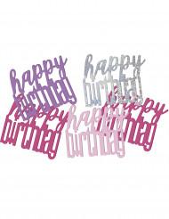 Coriandoli per tavola rosa e grigi Happy Birthday