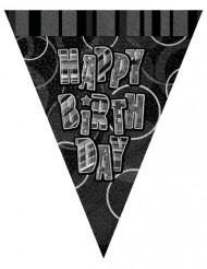Ghirlanda di bandierine grigie Happy Birthday
