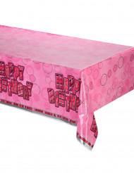 Tovaglia plastica Happy Birthday rosa