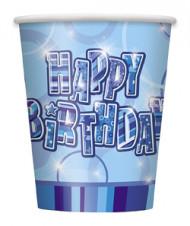 8 bicchieri blu Happy Brithday