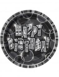 8 piatti Happy Birthday grigi