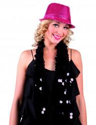 Cappello borsalino paillettes rosa adulto