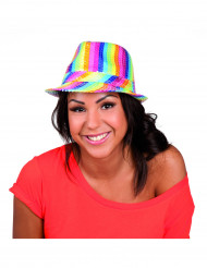 Cappello borsalino multicolore paillettes adulto