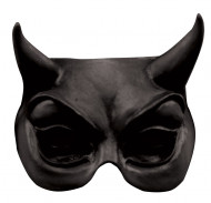 Mezza maschera diavolo adulto nera