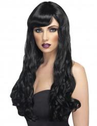 Parrucca lunga ondulata nera Donna
