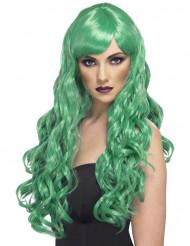 Parrucca lunga ondulata verde Donna