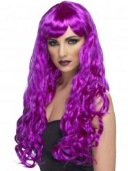 Parrucca lunga ondulata viola Donna