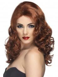 Parrucca lunga castana ondulata Donna