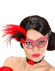 Maschera rosa e dorata con piume per adulti