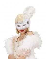 Maschera bianca con piume adulto